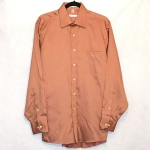 Geoffrey Beene Orange Wrinkle Free Cotton Shirt